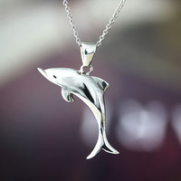 Sterling Silver Dolphin Necklace Womkens Sea Animal Pendant Charm Jewelry gift idea