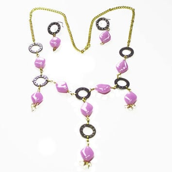 Oval Lavender Beads, Lariat Style, Recycled Watch Parts, Lobster Clasp, Gold Plated Chain, Gift For Her, Wire Wrapped Pendant, Mixed Media