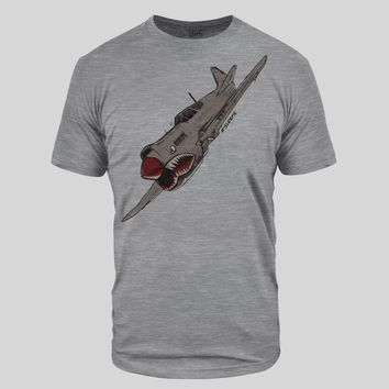 War Shark Plane Heather Gray Tri-Blend T-Shirt