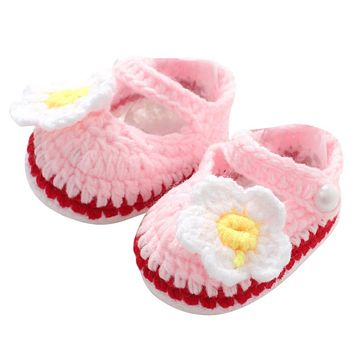 Baby Girl Shoes Toddler Princess Flower First Walkers Shoes For Kids Girls Newborn Pre walker Soft Soled Shoes Knitting Footwear