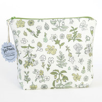 Grey Green Floral Faux Suede Boxy Zipper Pouch | Original Fabric Design | Make-up/Cosmetic Bag