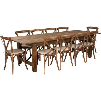 HERCULES Series 9' x 40'' Folding Farm Table Set with 10 Cross Back Chairs and Cushions