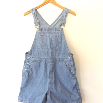90s Conductor Overalls - Striped Denim Onesuit - Womens Romper Playsuit size Small