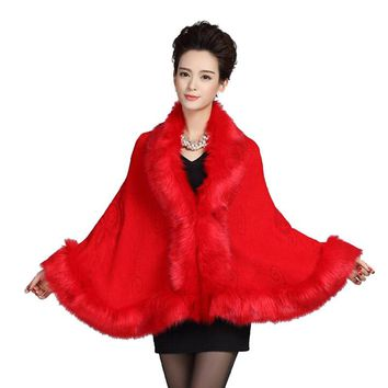 Womens Leather Grass Fox Fur Collar Poncho Cape Bridal Winter Wedding Cloak Dress Shawl Cape Lady Wool Vest Fur Coat DN001