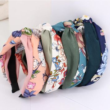 3pcs/lot Flower Print Patchwork Braided Hair Bands For Girls Stretchy Turban Retro Floral Headbands Hair Accessories For Women