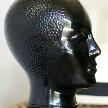 Vintage Curly Hair Black Glass Mannequin Head Hat Stand