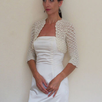 Ivory bridal BOLERO Lace WEDDING shrug Crochet bolero jacket entirely hand crochet