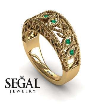 Unique Engagement Ring 14K Yellow Gold Art Deco Antique Ring Edwardian Ring Filigree Ring Green Emerald With Black Diamond - Avery