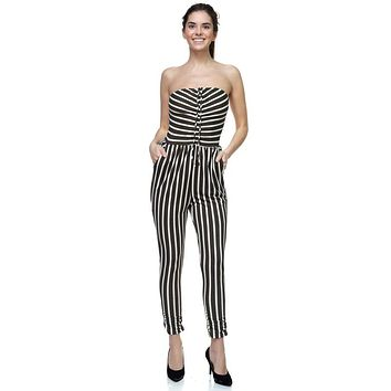 Ladies Stripe Tube Top Jumpsuit ()