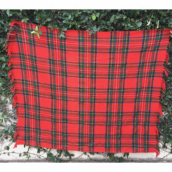 Vintage Wool Blanket Vintage tartan Wool Blanket Vintage Flannel Blanket Red Flannel Wool Blanket Vintage Flannel Blanket