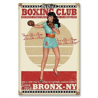 Retro-a-go-go! Boxing Bettie Page Club Metal Sign