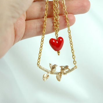 Gold Filled Birds on the Branch Necklace with Red by Myvera