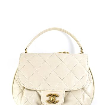 Chanel Ivory Aged Calfskin Small Bubble Flap Bag