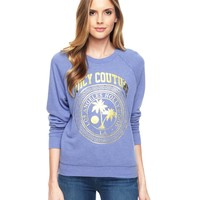 Heather Bluebell Foil Graphic Glamour-Soft Pullover by Juicy Couture,