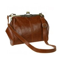 niceeshop(TM) Retro Vintage Kiss Lock Imitation Leather Shoulder Purse Handbag Totes Bag Satchel-Dark Brown