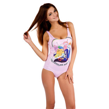 Adventure Time Print One Piece Swimsuit