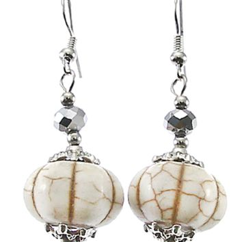 FISH HOOK EARRINGS W/ IVORY STONE