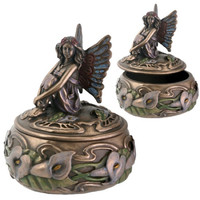 Calla Lily Fairy Sitting on Round Box Small Jewelry Holder 3H