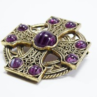 Maltese Cross Brooch Signed Miracle, Gold Tone Celtic Knots & Purple Art Glass Round Cabochons, Vintage 1970s 1980s, European Jewelry