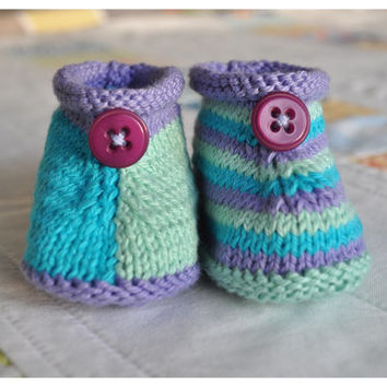 Knit baby booties mismatch cotton booties Hand Made Booties unisex booties baby gift ideas