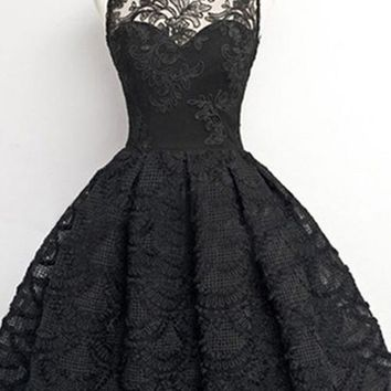Vintage Black Sheer Neck Lace A Line Short Homecoming Dress