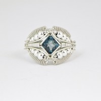 London Blue Topaz Ring Sterling Silver Wire Wrapped