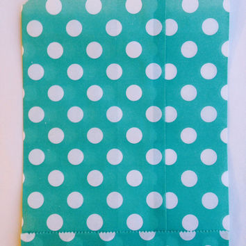 25 Tiffany blue Polka Dot favor bags / Treat Bags / Wedding Favor Bags / Birthdays / Party Favor Bags / Polka Dot Treat Bags / Bakery Bags