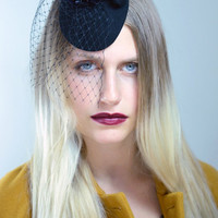 Winter Sale Black Cocktail Hat With flower and veil , Cocktail Hat in Wool Felt , Funeral Hat