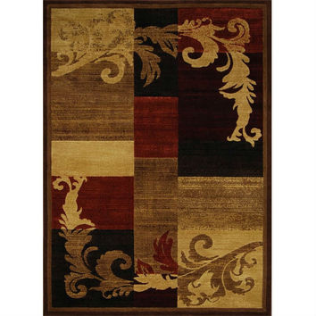 5'3 x 7'2 Area Rug in Brown Red Black with Damask Style Pattern