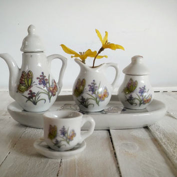 Royal Norfolk Greenbrier Porcelain Miniature Tea Set, Vintage Norfolk Childs Tea Set Butterflies and Floral