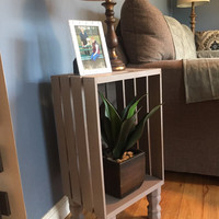 Wine Crate Side Table/Nightstand/with or without shelf