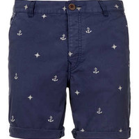 Blue Nautical Motif Shorts