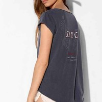 Truly Madly Deeply Japanese Moto Henley Tee- Navy