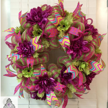 Spring Purple Pink/Green Deco Mesh Wreath
