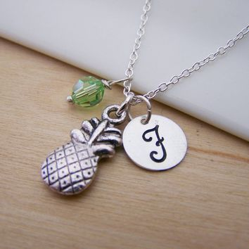 Pineapple Charm Swarovski Birthstone Initial Personalized Sterling Silver Necklace / Gift for Her