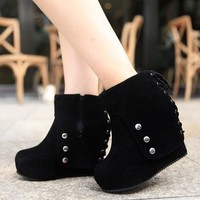New Women's Platform High Heel Wedge Lace Up Black Ankle Boots Pumps Shoes