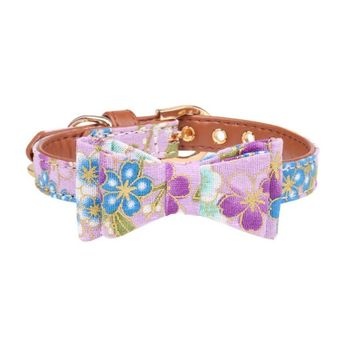 Dog Collar and Leash Set with Bow Tie Pretty Rose Floral Metal Buckle Big and Small Dog Collar Puppy Leash Pet Accessories