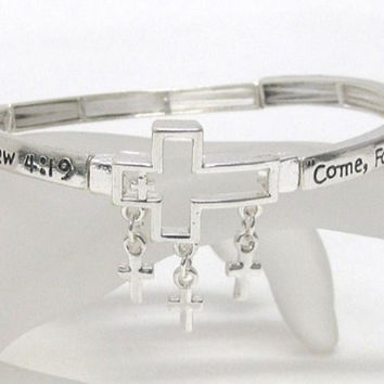 It's My BIRTHDAY Sale Mathew 4:19 Silver with Charms Stretch Bracelet