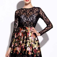 Black Round Neck Long Sleeve Lace Top With Floral Print Skirt - Sheinside.com