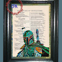 2 PRINT SPECIAL - Bounty Hunter Boba Fett Painting & Kitsch Art - Vintage Dictionary Page Art Print Upcycled Page Print, Green, Weapon