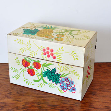 Vintage Metal Recipe Box with Vintage Recipe Cards, Pineapple and Berries