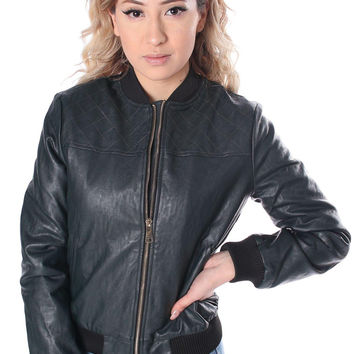 Salt Tree Women's Quilted Black Faux Leather Jacket, US Seller