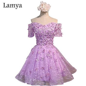 Lamya Romantic Flowers Off Shoulder Lace Prom Dress 2017 See Through Short Sleeve Sexy Appliques Ball Gown Party Dress