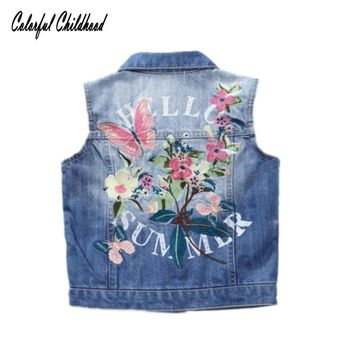 Trendy Denim Girls Vest Spring Autumn kids jean jackets Children's Clothing Pretty Butterfly Embroidery Denim Waistcoat For girls coat AT_94_13
