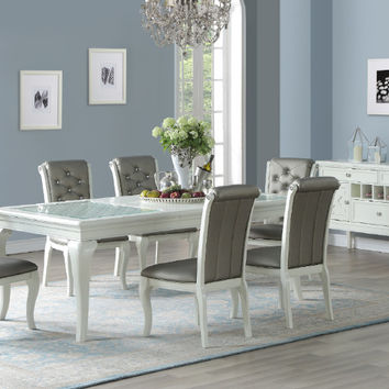 Poundex F2471-1762 7 pc Freida II white finish wood dining table set glass insert tops