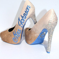 Custom White Gold Ombre Wedding/Prom Shoe