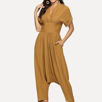 Mustard Roll Up Sleeve Wide Waistband Harem Jumpsuit