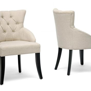 Set of 2 Beige Linen Dining Chairs