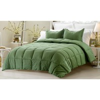 3PC REVERSIBLE SOLID/ EMBOSS STRIPED COMFORTER SET- OVERSIZED AND OVERFILLED ( 2 BEDDING LOOKS IN 1) - DARK GREEN