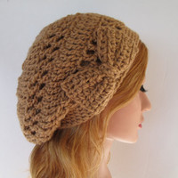 Crochet warm brown slouchy beanie beret tam with by PlacidiaPlush